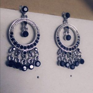 Silver with black beaded earrings
